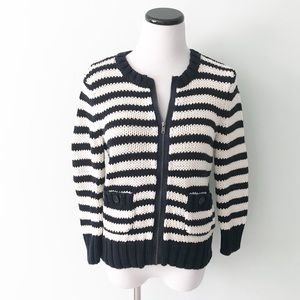LOFT Navy blue white striped thick zip up Sweater